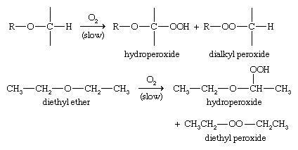 معادله واکنش اکسیداسیون اترها