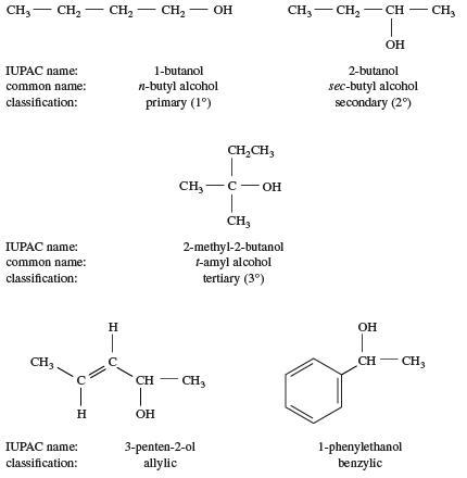 مقایسه ساختار برخی از الکل ها