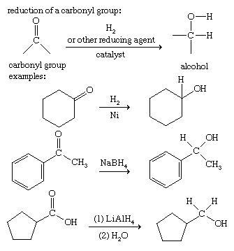 واکنش تبدیل ترکیبات کربونیل دار به الکل