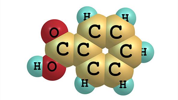 ساختار شیمیایی بنزوئیک اسید
